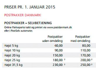 forsendelse post danmark pris